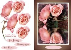 - A very easy to make card and it can be used for many reasons, has some labels to say So sorry,Thinking of you, and Best wish. Pretty Photos, Pink Roses, Your Cards, Thinking Of You, Decoupage, Birthday Cards, Card Making, Greeting Cards, Rain