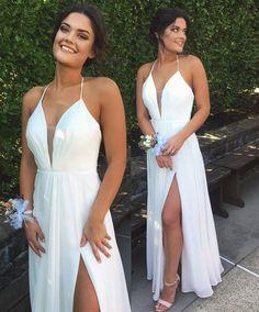 2017 prom dresses,white prom dresses,halter prom party dresses,white split evening dresses,fashion evening dresses,prom dresses 2017
