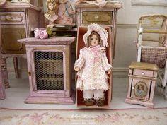 Miniatur-Puppe Französisch Weise Zweibettzimmer Baumwolle und