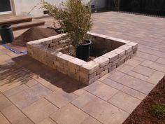 Patio pavers, planter/seat wall