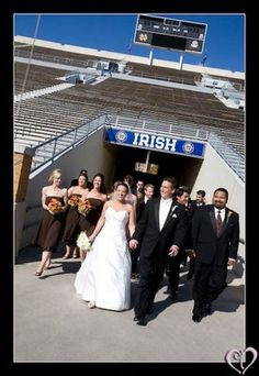 FING Awesome  Bridal party entering Notre Dame Stadium through the tunnel
