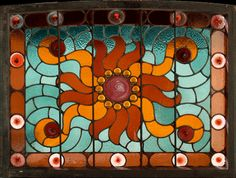 Antique American Victorian Stained Glass Window AE479