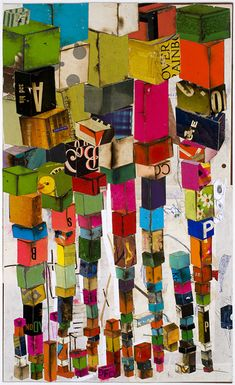 Lance Letscher : Work from the middle ages  Walking Tower #2  Collage on Board   23 x 14""