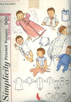 1960's Simplicity 5163 Infant Layette Sewing Pattern Sacque Undershirt G to Ex condition #BabyPatterns #Sewing #ChildrensPatterns
