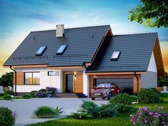 DOM.PL™ - Projekt domu DN Lisandra 2M CE - DOM PC1-60 - gotowy koszt budowy Tropical Houses, Facade House, Home Fashion, Dream Rooms, House Plans, New Homes, Real Estate, Outdoor Structures, Cabin