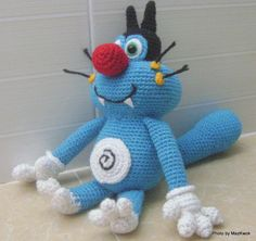 Amigurumi crochet PDF pattern - Oggy (from Oggy and the Cockroaches)
