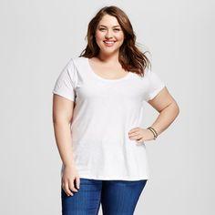 Women's Plus Size Scoop Neck Tee White 1X - Ava & Viv, Fresh White