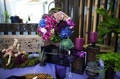 lila Orchideen Tischdeko romantisch Hochzeit