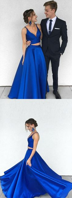 two piece long prom dress, royal blue long prom dress evening dress formal dress, two piece royal blue long homecoming dress party dress