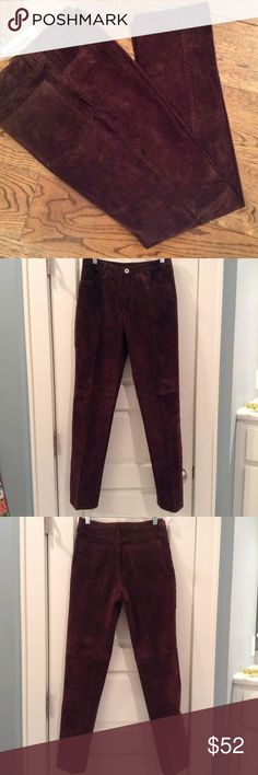 Chico's Brown Suede Leather Pants These are a gorgeous pair of 100% suede leather pants with detailed stitching down the side.  Lined, incredible quality pants.  These are a Chico's size 0, meaning they fit a size 2-4. Chico's Pants Straight Leg