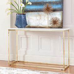 Donny Osmond Isabelle Marble Sofa Table with Brushed Brass Legs in White