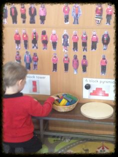 "Challenge in continuous provision using Mini Me's... create a challenge area with Mini Me's stuck to the wall. Each week the type of challenge changes  staff just move the Mini Me's around to create differentiated groups, depending on what the new challenge is - from ABC Does ("",)"
