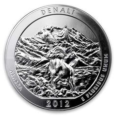 The 5 ounce America the Beautiful coin which commemorates the park features a big horn sheep with Mt. Denali rising majestically in the background. It is a fine and fitting symbol of a wild and scenic place. Silver Coins For Sale, Silver Eagle Coins, Silver Eagles, Bullion Coins, Silver Bullion, Big Horn Sheep, Silver Dimes, Silver Quarters, Beautiful Series