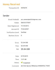 ADCLICKXPRESS – ACX IS AWESOME AND HERE IS MY PAYMENT NR.12! NO SCAM HERE!! I am setting my proof withdrawal from the money I earned at ACX Making my daily earnings is fun, and makes it a very profitable! Work from home at ACX. http://www.adclickxpress.com/?r=eh6qw6keb3ja&p=aa