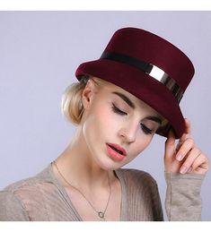 16f15119295 Women s Metal Belt Wool Felt Bucket Hat Wine Red CE12MCI89FR
