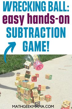 This easy subtraction game is sure to be a hit with your kids! Who doesn't love building a tower and knocking it down? Use this fun activity to model subtraction and practice writing equations. (Printable recording page included) #easymathgame #mathgame #subtraction #mathlesson #mathoutdoors