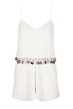 Pom-Pom Detailed Playsuit - Playsuits and Jumpsuits - Clothing - Topshop Europe