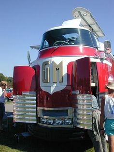 1950's GM Futurliner and 1954 Pontiac Bonneville Special. Source and more: http://www.wired.com/2014/07/gm-bus-auction/