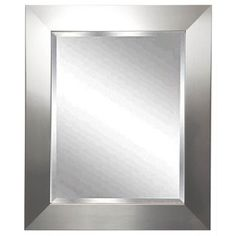 A, this wall mirror features a beveled mirror edge. 27 wide x 31 high x deep. Hang weight is 26 lbs. Glass only section is wide x high. Surrounding frame is wide. Beveled edge is wide. Style # at Lamps Plus. Silver Wall Mirror, Beveled Mirror, Beveled Glass, Floor Mirror, Mirror House, Black Decor, Modern Wall, Frames On Wall, Bathroom Mirrors