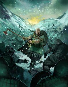 m Barbarian Medium Armor Shield Battle Axe Asian Faction Mountain Pass ice Army eastern border story by JonHodgson DeviantArt med Viking Art, Viking Warrior, Fantasy Warrior, Thor, Viking Character, Arcane Trickster, Vegvisir, Norse Vikings, Anglo Saxon