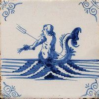Dutch tile....Neptune with his trident...holding a crayfish in his hand...blue...ca. 1675