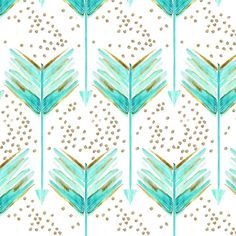 Made To Order - Fitted Cot / Crib sheet Arrows Blue, Turquoise, Mint, Gold, Watercolour on Etsy, $69.00