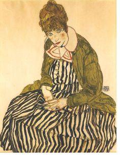 """Egon Schiele """"Portrait of Edith Schiele with striped dress"""" 1915"""