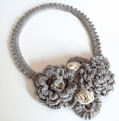 Crocheted Necklace Mink Beige Grey Gray Champagne Handmade - Elegant Fashion Flowers Rose. $113.00, via Etsy.