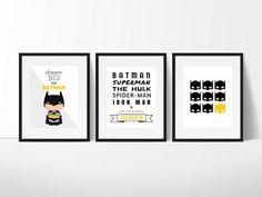 Batman Print Set Batman Wall Art Boys Room by belovedboutiquewpg Batman Wall Art, Superhero Wall Art, Batman Room, Superhero Alphabet, Alphabet Print, Superman, Big Little, Nursery Art, Nursery Decor