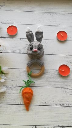 Pattern for this bunny is available in my Etsy shop ideen videos weihnachten Crochet pattern rattle, teething ring bunny, baby toy pattern Crochet Baby Toys, Crochet Bunny, Crochet Patterns Amigurumi, Baby Knitting, Crochet Videos, Baby Kind, Stuffed Toys Patterns, Craft Stick Crafts, Crochet Projects