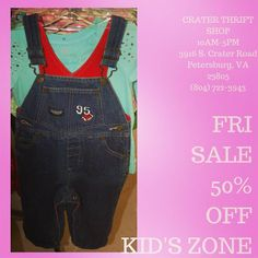 Whether they want to drive the train or plant a garden or just explore the world overalls are both a practical and adorable choice. Stock up today when all kid's zone is 50% off!     #buylocal #shoplocal #thriftstore #thriftshop #hopewellva #petersburgva #colonialheights #chesterfield #rva #804 #kidsclothes #babyclothes #whybuynew #charityshop #back2school #overalls #littleengineer
