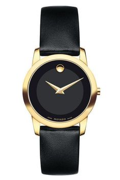 Movado Women's Museum Classic Watch with Strap 0606877. This classic gold PVD-finished stainless steel women's watch features a 28mm case with signature Movado black museum dial with tone on tone oute #movadowatchesladies