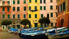 Boats in the harbor in Vernazza, Italy