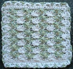 Popcorn Shells Dishcloth- Intermediate- Crochet