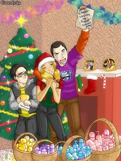 For the Big Bang Theory fans, especially my fellow Sheldon/Penny shippers, we know all about the Christmas Hug. Big Bang Theory Series, The Big Theory, Big Bang Theory Funny, The Big Bang Therory, Penny And Sheldon, Christmas Artwork, Christmas Shows, Celebrity Caricatures, Dc Characters