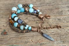 Natural stones bracelet boho blacelet Blue от LenaSinelnikArt