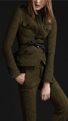 Burberry Prorsum wool tweed peplum hunting jacket