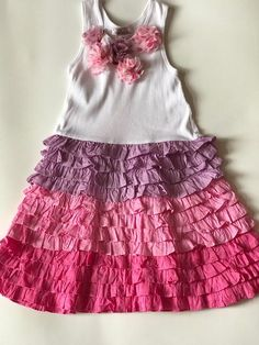 HALABALOO Girls Pink Purple Ruffle Dress Spring Size 6X Play Condition  #Halabaloo