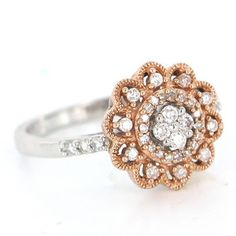 Estate 14 Karat Rose White Gold Diamond Cocktail Ring Fine Jewelry Pre-Owned 7 $595