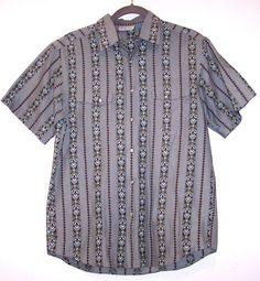 Ripcurl Shirt M Retro Pearlsnap Button Down Casual Gray Cotton RipCurl Short Slv #Ripcurl #ButtonFront