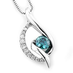 This White Gold Ladies La Minor Blue Diamond Necklace showcases carats of diamonds, including a solitaire blue diamond and pave-set white round diamonds. Featuring a classic design and delicate 18 inch chain, this ladies diamond necklace is a bre Trendy Fashion Jewelry, Modern Jewelry, Fine Jewelry, Gold Jewelry, Gold Necklaces, Jewelry Box, Blue Diamond Necklace, Jewelry For Her, Affordable Jewelry