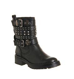 Office Cracking Stud Biker Black Leather - Ankle Boots
