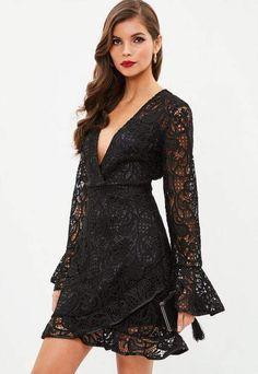 e85c656ee7 Missguided Black Lace Frill Tea Dress Tuxedo Dress