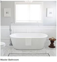 Classic Bathroom Paint, Bathroom Paint Colors, Behr Gray Paint, Grey Paint Colors, Sherwin Williams Silver Strand, Stand Alone Tub, Grey Bathrooms, New Homes, Tile