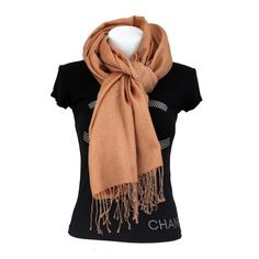 pashmina légère camel composition  50% soie, 50% pashmina couleur  camel -  marron dimensions  180 70 cm nettoyage à sec Avec un tissage très fin  hérité du ... c4642b30b41