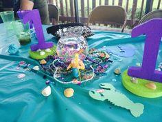 Little Mermaid centerpiece Little Mermaid Centerpieces, Little Mermaid Decorations, Little Mermaid Parties, Diy Party Decorations, The Little Mermaid, Baby Girl Birthday, Mermaid Birthday, 3rd Birthday, Underwater Party
