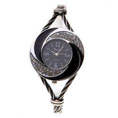 Exquisite Daudy Rhinestone Decoration Bangle Design Quartz Watch with 4 Arabic Numerals Hour Marks & Black Dial - Black & White
