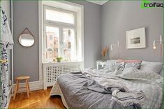 gray and white (small bedroom design ideas and home staging tips for small rooms) Grey Interior Design, Home Interior, Maximize Small Space, Small Spaces, Small Rooms, Small Closets, Home Bedroom, Bedroom Decor, Bedroom Ideas