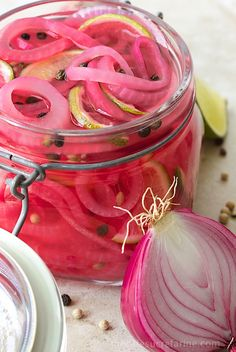 Pickled Red Onions.The most beautiful, delicious condiment! Adds a gourmet touch to sandwiches, salads, burgers, also Mexican, Asian and Middle Eastern dishes.
