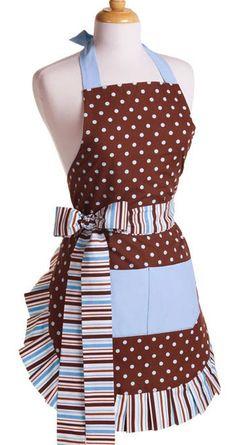 Polka Dots and Stripes Vintage Apron _ Adorable! $34.95 #aprons